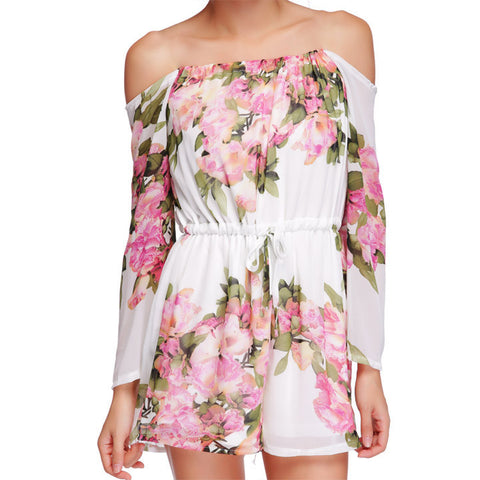 Floral Printed Off Shoulder Short Beach Jumpsuit - MeetYoursFashion - 5