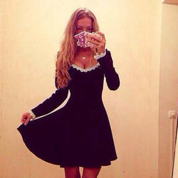Sliming Long-sleeved Elegant Short Dress
