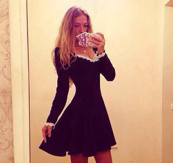Sliming Long-sleeved Elegant Short Dress - Meet Yours Fashion - 3
