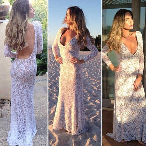 V-Neck Sexy Backless Lace Evening Long Dress - MeetYoursFashion - 1