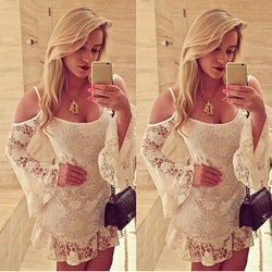 Lace Off-Shoulder White Mini Dress - MeetYoursFashion - 1