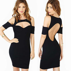 Bodycon Black Hollow Cut Out Clubwear Dress - MeetYoursFashion - 1