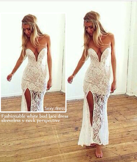 Sweatheart Strapless Split Long Lace Dress - MeetYoursFashion - 3
