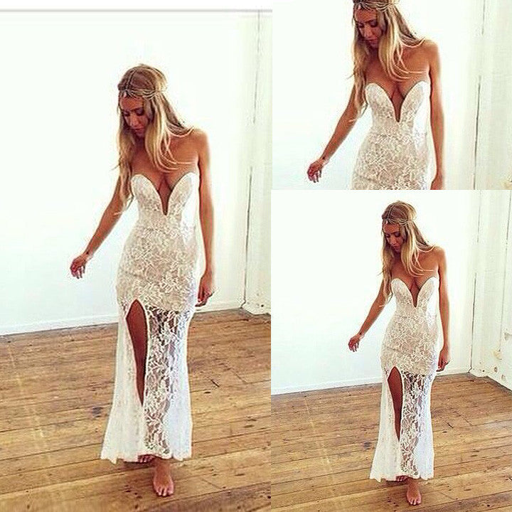 Sweatheart Strapless Split Long Lace Dress - MeetYoursFashion - 1