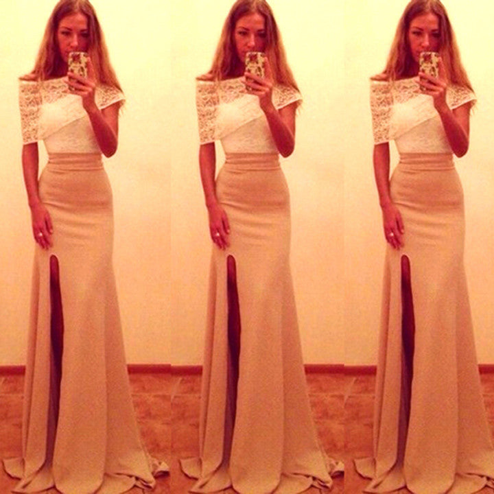Off Shoulder Two-Piece Sexy Slit Full Length Dress - Meet Yours Fashion - 1