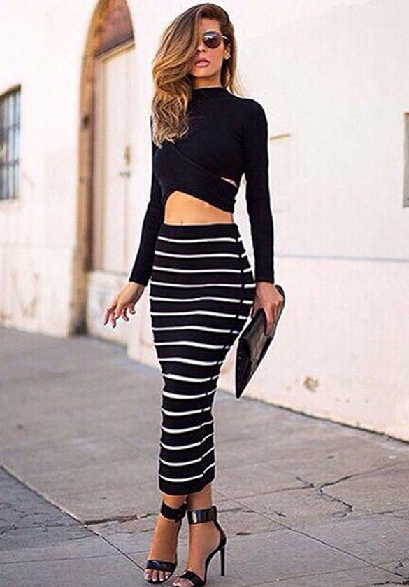 Long Sleeves Crop Top Striped Stretch Skirt Dress Set - Meet Yours Fashion - 3