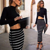 Long Sleeves Crop Top Striped Stretch Skirt Dress Set - Meet Yours Fashion - 1