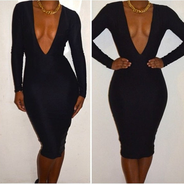 Deep V-Neck Backless Long Sleeve Slim Bodycon Little Black Dress - MeetYoursFashion - 4