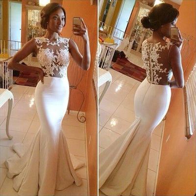 Lace Crochet Backless Mermaid Long Wedding Party Dress - MeetYoursFashion - 1