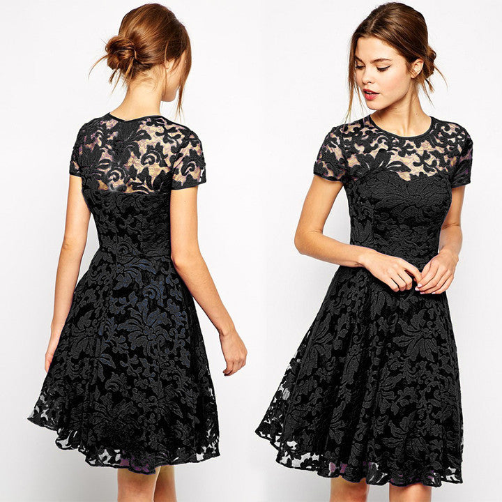 Fashion A-line Hollow Out Lace Knee-length Dress - MeetYoursFashion - 2