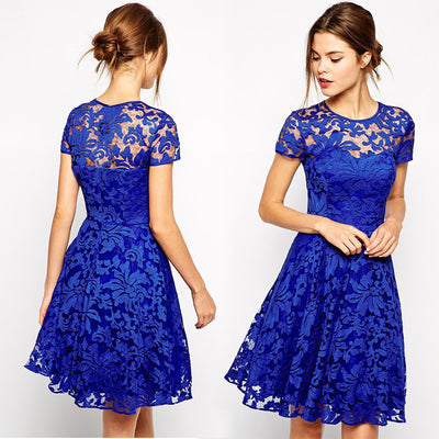 Fashion A-line Hollow Out Lace Knee-length Dress - MeetYoursFashion - 1
