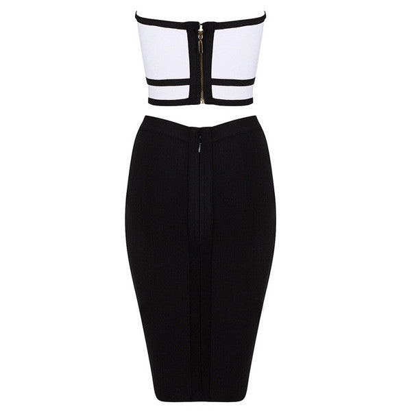 Two Pieces Bustier Crop Top Pencil Skirt Dress Set - Meet Yours Fashion - 8