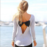 Irregular Backless Bowknot Long Sleeve Blouse Top - MeetYoursFashion - 4