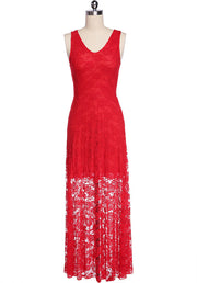 Lace V-neck Prom Long Tank Dress - Meet Yours Fashion - 3