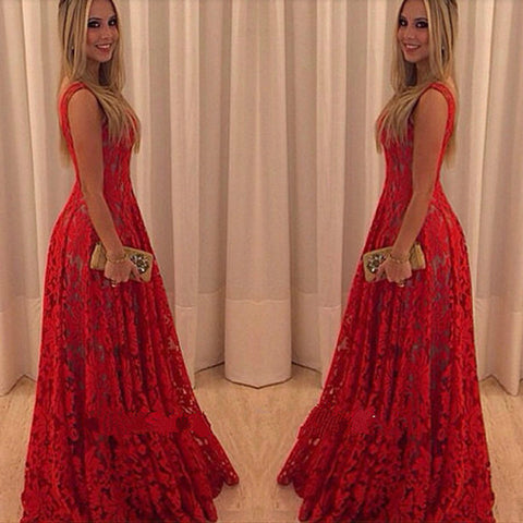 Lace V-neck Prom Long Tank Dress - Meet Yours Fashion - 1