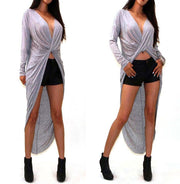 Irregular V-neck Long Sleeve Cross Wrap Long Dress - MeetYoursFashion - 4