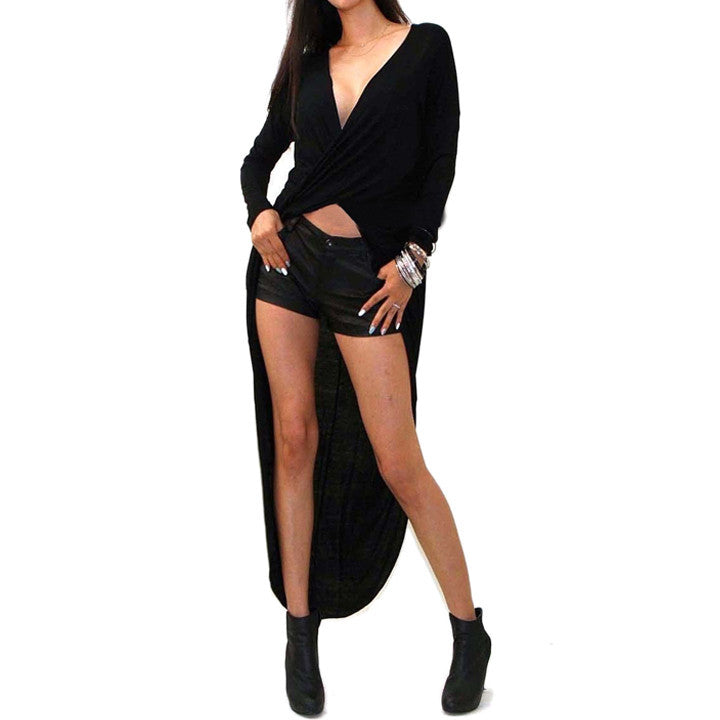 Irregular V-neck Long Sleeve Cross Wrap Long Dress - MeetYoursFashion - 2