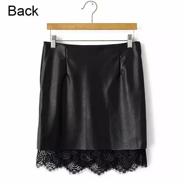Casual Party Synthetic Leather Lace Skirt - MeetYoursFashion - 3