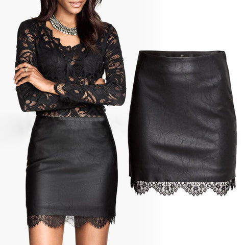 Casual Party Synthetic Leather Lace Skirt - MeetYoursFashion - 1
