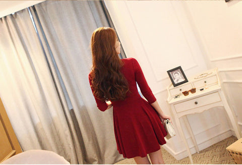 Hollow Out 3/4 Sleeve Bodycon Pleated Dress - MeetYoursFashion - 4