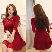 Hollow Out 3/4 Sleeve Bodycon Pleated Dress - MeetYoursFashion - 1
