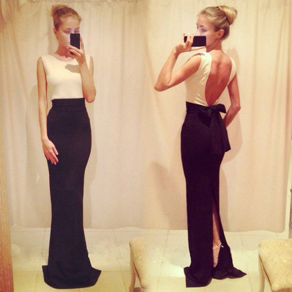 Backless Sleeveless Bodycon Slim Fitting Formal Long Dress - MeetYoursFashion - 1