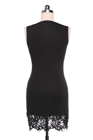 Sleeveless Bodycon Short Lace Little Black Dress - MeetYoursFashion - 5