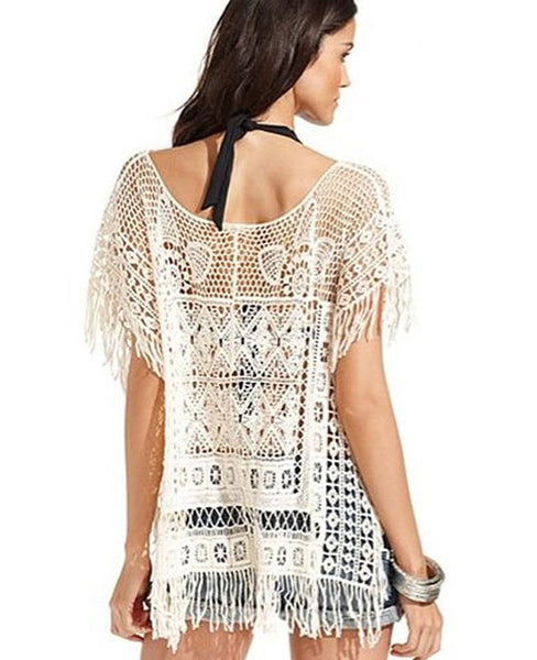 Hollow Out Crochet Knit Loose Tassels Top Blouse - MeetYoursFashion - 4
