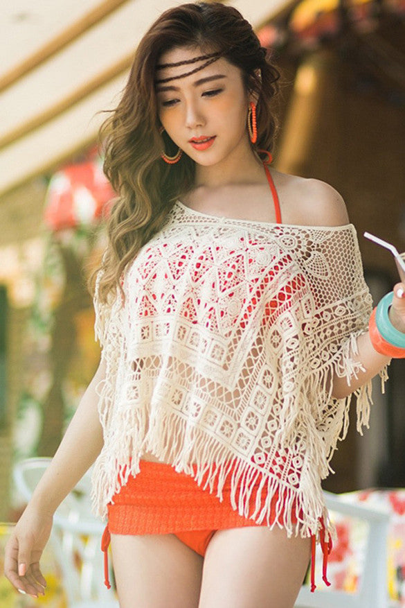 Hollow Out Crochet Knit Loose Tassels Top Blouse - MeetYoursFashion - 3