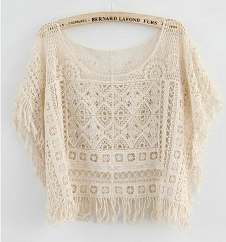 Hollow Out Crochet Knit Loose Tassels Top Blouse - MeetYoursFashion - 5