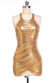 Sequined Backless Halter Bodycon Clubwear Dress - Meet Yours Fashion - 2