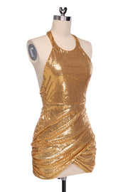 Sequined Backless Halter Bodycon Clubwear Dress - Meet Yours Fashion - 3