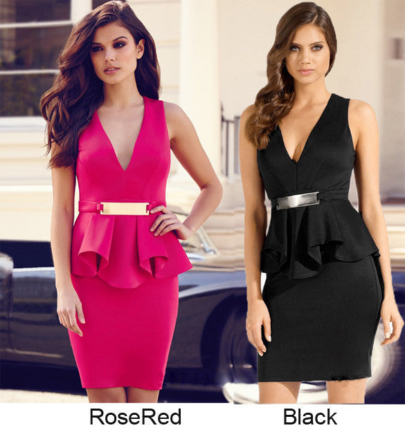 V-neck Formal Career Package Hip Knee-length Dress - MeetYoursFashion - 4