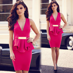 V-neck Formal Career Package Hip Knee-length Dress - MeetYoursFashion - 1