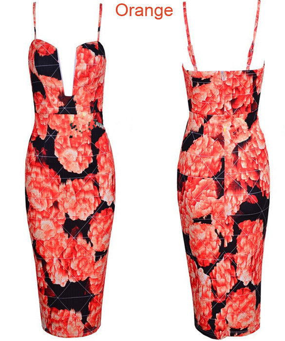 Print Bandage Bodycon Party Knee-length Dress - MeetYoursFashion - 3