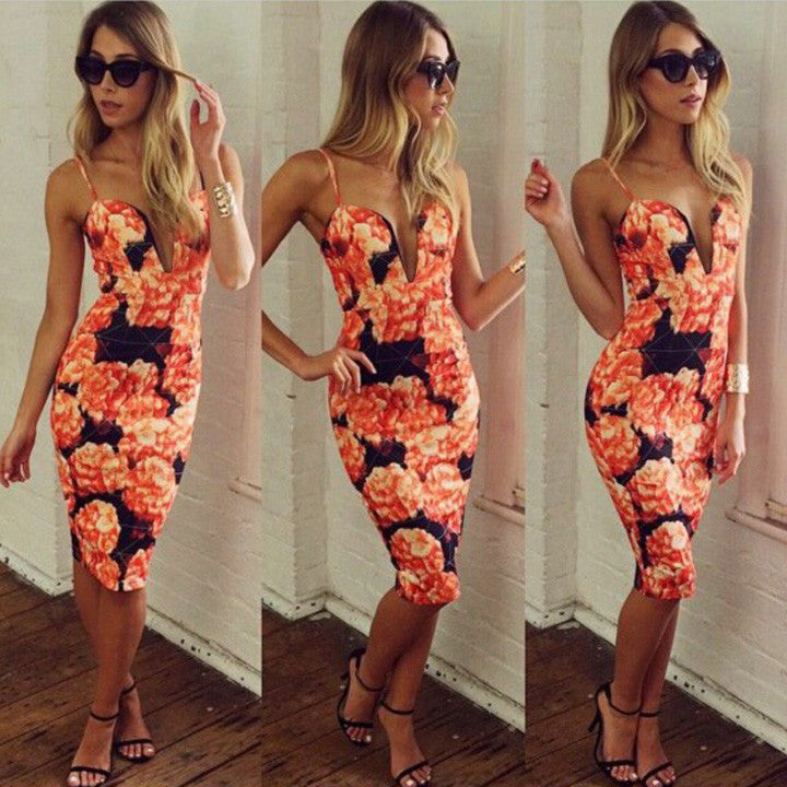 Print Bandage Bodycon Party Knee-length Dress - MeetYoursFashion - 1