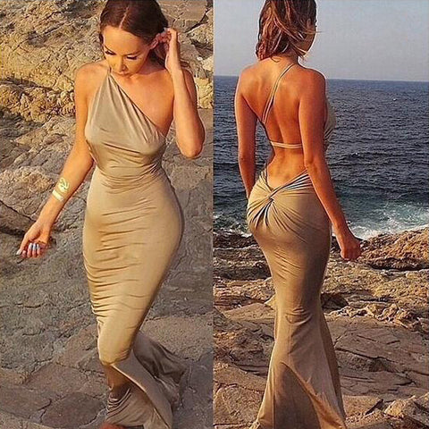Bandage Backless One Shoulder Mermaid Beach Dress - MeetYoursFashion - 1