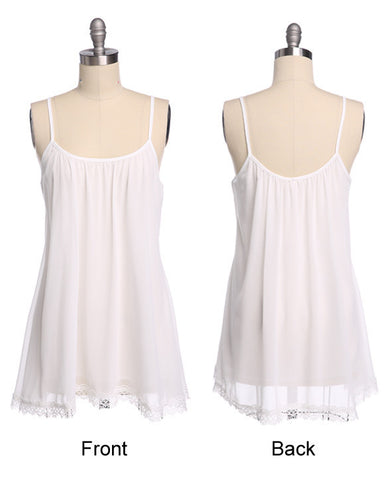 Strap Chiffon Lace Trim Loose Mini Sundress - MeetYoursFashion - 12