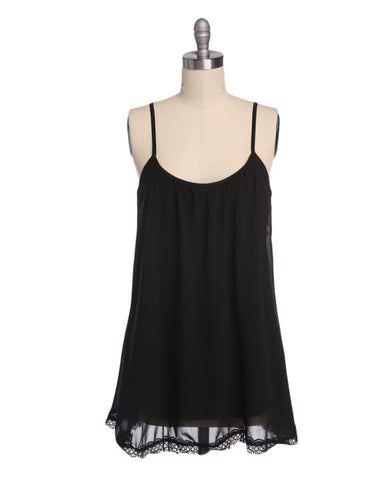 Strap Chiffon Lace Trim Loose Mini Sundress - MeetYoursFashion - 11
