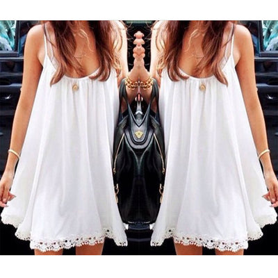 Strap Chiffon Lace Trim Loose Mini Sundress - MeetYoursFashion - 1
