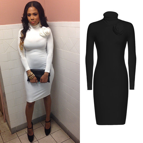 Long Sleeve Turtle Neck Slim Fitting Bodycon Pencil Dress - MeetYoursFashion - 3