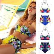 Floral Printing Bra Underwear Bikini Set Swimwear - MeetYoursFashion - 1
