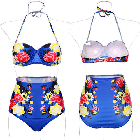 Floral Printing Bra Underwear Bikini Set Swimwear - MeetYoursFashion - 5