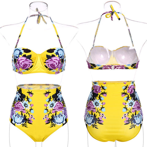 Floral Printing Bra Underwear Bikini Set Swimwear - MeetYoursFashion - 4