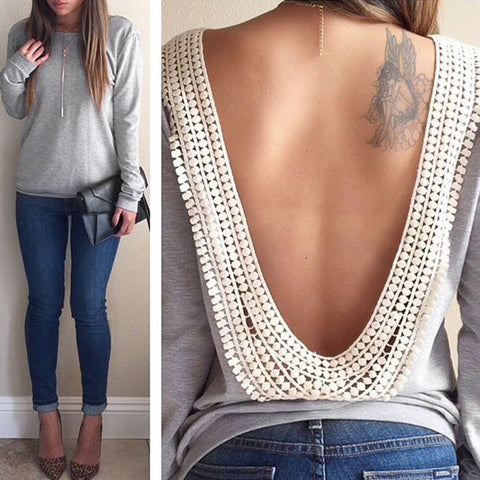 Long Sleeve O-neck Backless Tops Shirt Blouse - MeetYoursFashion - 1