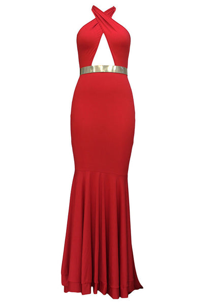 Backless Halter Fishtail Long Evening Dress - MeetYoursFashion - 2