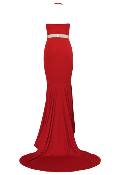 Backless Halter Fishtail Long Evening Dress - MeetYoursFashion - 3