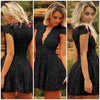 Women Lace V-neck Formal Evening Short Dress - MeetYoursFashion - 1