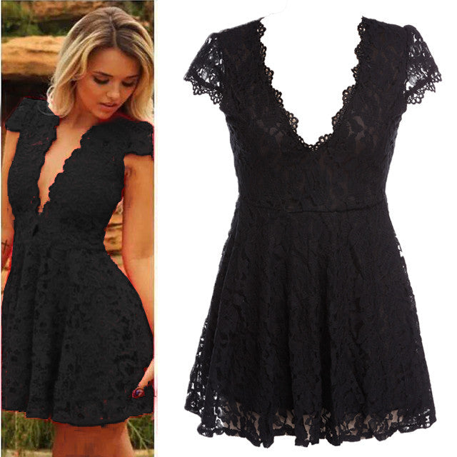 Women Lace V-neck Formal Evening Short Dress - MeetYoursFashion - 2