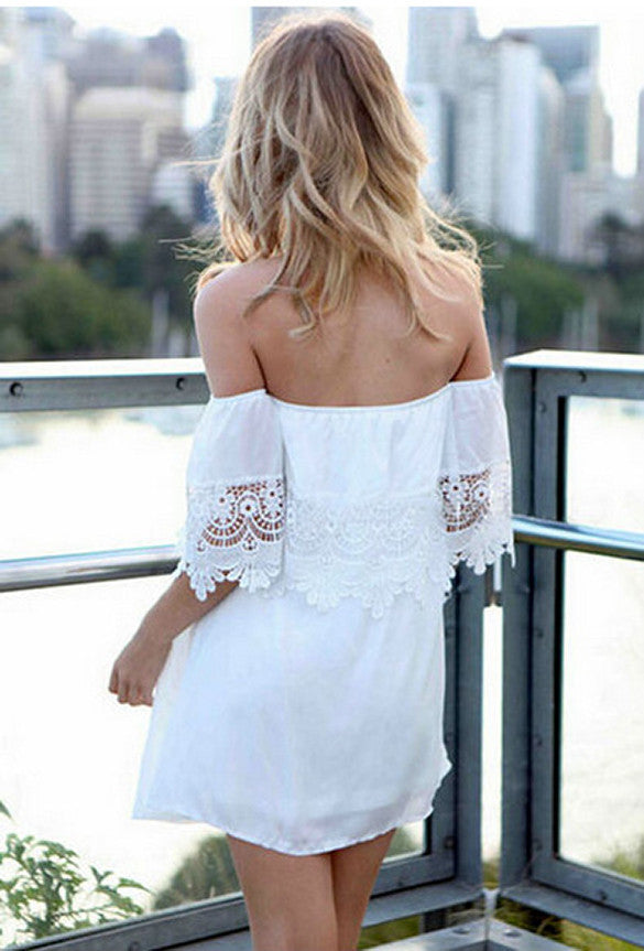 Summer Off-Shoulder Short Sleeve Mini Beach Dress - Meet Yours Fashion - 4